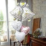 即日発送対応 結婚式 選べる定型文カード付 バルーン電報 【ウェディングベル】(Happy Wedding !) ヘリウムガス入り4個 11051
