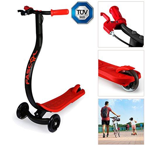 Fascol® Motorino con freno a mano e pedale, ergonomica e antiscivolo per evitare incidente, Brillante led PU a rotelle per 3-8 anni bambini, nero con Red