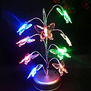 LED Butterfly Bonsai Tree Light Ornament Night Lamp Multi-colored by Generic