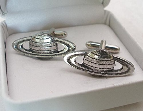 Solid Pewter Saturn Cufflinks With Gift Box