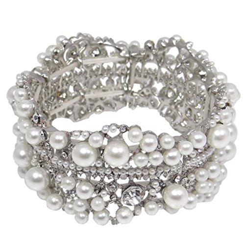 EVER-FAITH-Austrian-Crystal-Simulated-Pearl-Bridal-Flower-Stretch-Bracelet-Clear-Silver-Tone