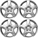 """OxGord Hubcaps for Chevy Aveo 2009-2011 Set of 4 Pack 15"""" Inch Silver Auto Wheel Covers, OEM Genuine Factory Aftermarket Replacement, ABS Plastic - Easy Snap On - Includes 5 Lug Nut Center Caps"""