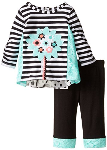 Rare Editions Baby Baby-Girls Newborn Knit Applique Legging Set, Multi, 6 Months
