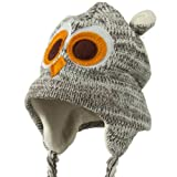 Knit Owl Hat Lined with Fleece One Size Fits Most Gray White Brown