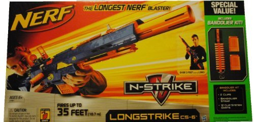 NERF N-STRIKE LONGSTRIKE CS-6 WITH 2 CLIPS & 12 DARTS EXTRA (Nerf Extra Darts And Clips compare prices)