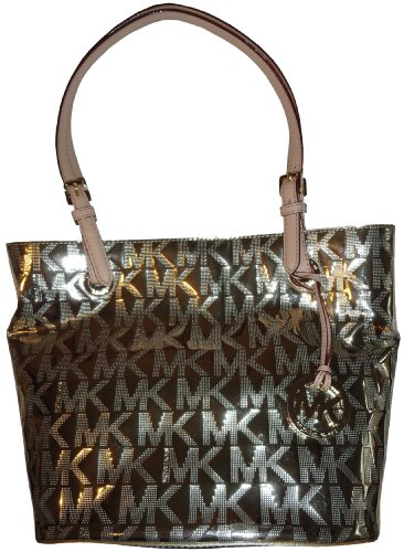 Michael Kors MK Mirror Metallic Item MD Tote Shoulder Bag Handbag Purse - Gold