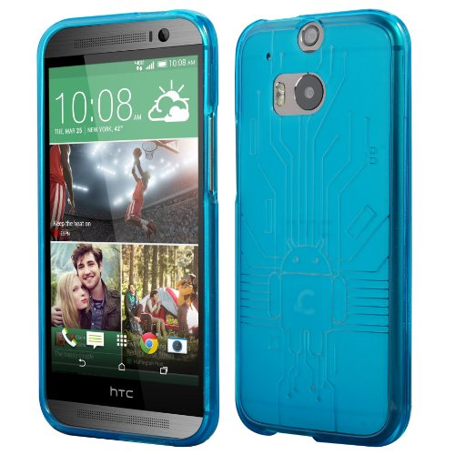 Cruzerlite Bugdroid Circuit TPU Case for the HTC All New One (M8) 2014 - Retail Packaging - Teal
