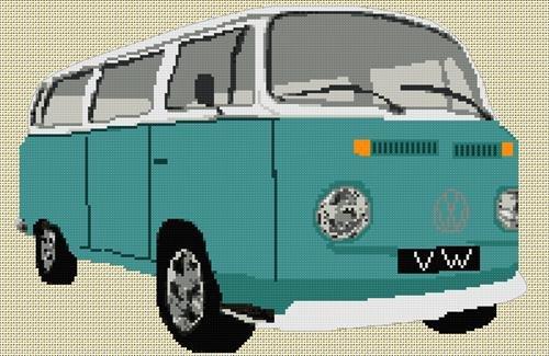 Volkswagen Camper Van Bay Window Cross Stitch Chart - bluegreen