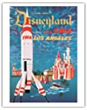 Fly TWA Los Angeles - Trans World Airlines - Disneyland's Tomorrowland TWA Moonliner - Vintage Airline Travel Poster by David Klein c.1955 - Fine Art Print - 11in x 14in