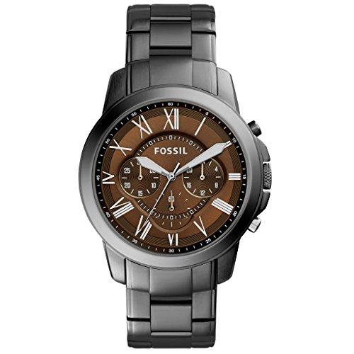 Fossil FS5090 GRANT - Orologio analogico da donna con cronografo, in acciaio inox, impermeabile fino 50 m, colore: grigio