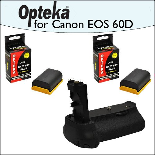 Battery Pack Grip / Vertical Shutter Release With 2 Opteka LP-E6 2400mAh Ultra High Capacity Li-ion for Canon EOS 60D Digital SLR Camera