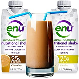 ENU protein shake / meal replacement drink. Tastes great. ($3 taste test: see on-page coupon) Maximum protein and calorie supplement to help ensure muscle mass & maintain orgain weight. Complex carbs & healthy fats for energy. 24 vitamins & minerals. Best nutrition recovery drink. Naturally sweetened. NON-GMO, gluten free, Kosher. USERS INCLUDE: patients, kids, adults, seniors, digestive issues, body builders, athletes, people on the go, travelers. Ready to drink. (2-pack/Chocolate & Vanilla)