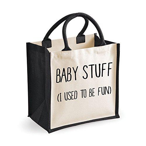 """Media-Jute Bag Stuff I Used To Be Fun Borsa nera per la festa della mamma, con scritta """"Mum"""", idea regalo per compleanno, Natale,-Borsa per pannolini, borsa per il cambio"""