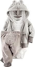Carter\'s Baby Boys\' 3 Piece Terry Cardigan Set (Baby) - Gray - 3M