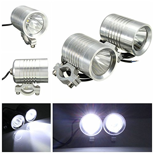 AUDEW 2X 12V 30W U2 Moto Phare HeadLight Spot Light Hi/Lo Faisceau Lamp Chrome