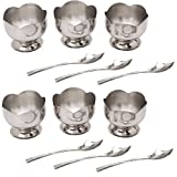 Set Of 12 - 6 Lotus Ice Cream Cup And 6 Ice Cream Spoon