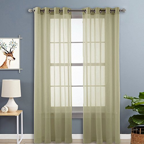 Nicetown Light Filtering Sheer Window Curtain Panels With Grommet Top (2-Pack, 54 Wide x 96 inch Long, Sage) (Sliding Door Pattern Curtains compare prices)