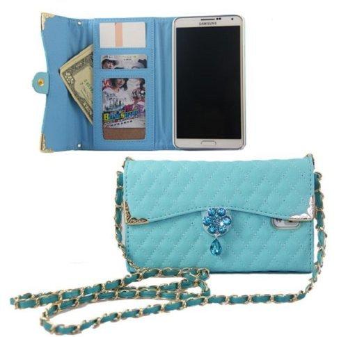 iphone6 / 6 plus バッグ 風 デコ キルティング ケース / カバー アイフォン 手帳 型 【Willcast】 2.iphone6plus スカイブルー おまけホームボタン付き