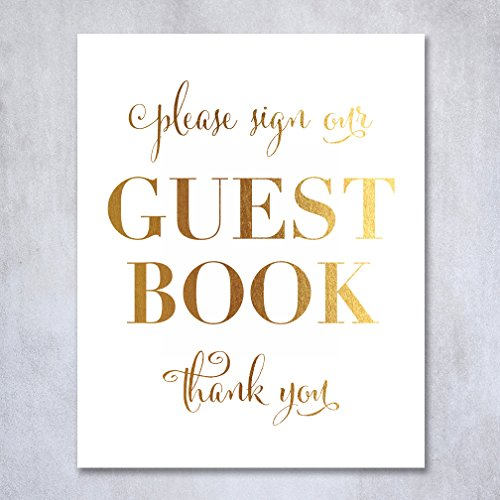Guest Book Gold Foil Wedding Sign Reception Signage Please Sign Guestbook Thank You Seating Chart 8x10 5x7 Decor