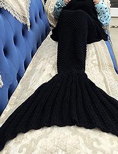 Mermaid Tail Blanket for Kids and Adult,Hand Crochet Snuggle Mermaid,All Seasons Seatail Sleeping Bag Blanket by Jr.White (Black)