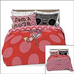 Full/Queen Ballerina/Brake Dancer Duvet Cover for Kids Bedding with 2 Pillowcases by Where The Polka Dots Roam (L 90in x W 92in)