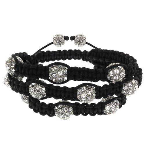 3 Row Hot Pave Unisex 10mm 12 White Crystal Beads Adjustable Bracelet
