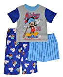 Mickey Mouse Toddler Boys S/S Baseball League Top 3pc Pajama Pant & Short Set