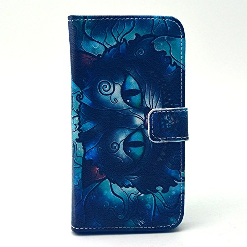 Galaxy S6 Case, Firefish Stylish [Kickstand] [Non Slip] [Card Holder] Premium Comprehensive Protection PU Leather Inner TPU Magnetic Closure Skin for Samsung Galaxy S6-Blue owl (Platinum Iphone 6 Case Red compare prices)