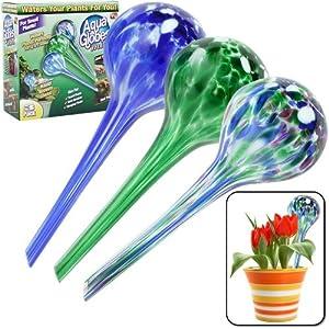 set of 3 plant watering aqua globes distributeur d 39 eau. Black Bedroom Furniture Sets. Home Design Ideas