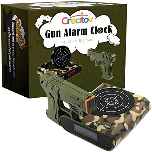 Target Alarm Clock With Gun, Infrared Laser and Realistic Sound Effects -Camouflage- By Creatov® (Target Practice Alarm compare prices)