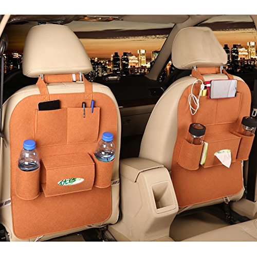 M'Baby 1pc Seat Back Car Organizer Woolen Felt Seat Back Kick Protectors for Kids, Storage Bottles, Tissue Box, Toys (Coffee) (Brown Girl Seat Covers compare prices)