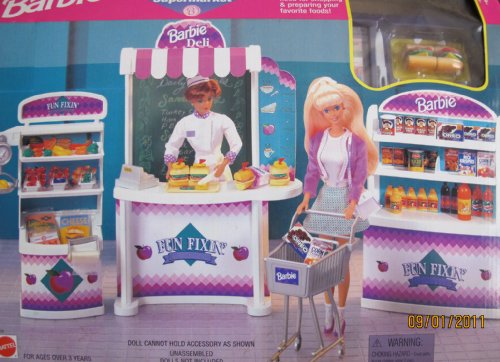 Barbie FUN FIXIN' SUPERMARKET Playset w Shelves, Freezer, Shopping Cart, Food & MORE! (1997 Arcotoys, Mattel)