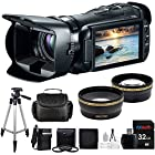 Canon Vixia HF G20 32GB Flash Memory 1080p HD Digital Video Camcorder with 32GB Card + Battery + Case+ Tripod + Telephoto & Wide-Angle Lenses + Accessory Kit