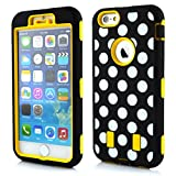 Meaci® Cellphone Case for Iphone 6 Plus 5.5 Inch Case 3 in 1 Combo Hybrid High Impact Body Armorbox Hard Pc&silicone Protective Bumper Case with Polka Dots Luxury Print (yellow Polka dots)