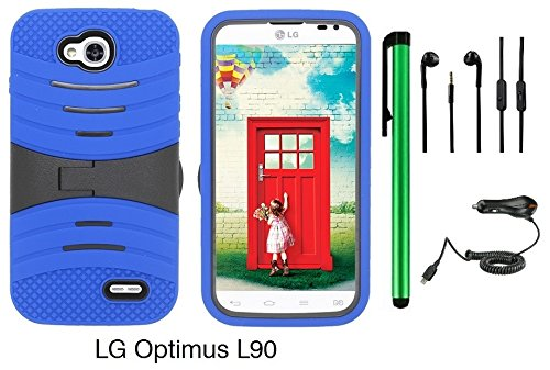 Premium Ucase With Kickstand Cover Case For Lg Optimus L90 (D415) (Us Carrier: T-Mobile) + Car Charger + 3.5Mm Stereo Earphones + 1 Of New Assorted Color Metal Stylus Touch Screen Pen (Blue / Black)
