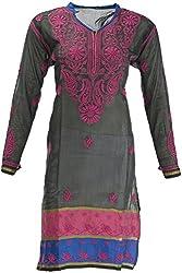 AKS Lucknow Women's Regular Fit Kurti (TK-38_42, BLACK, 42)