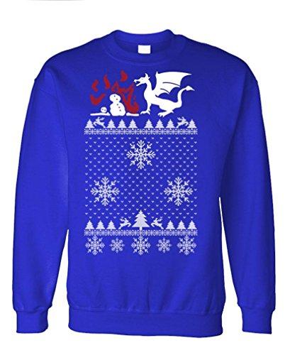Ugly Christmas Dragon - Funny Xmas Party Fleece Sweatshirt, 3Xl, Royal