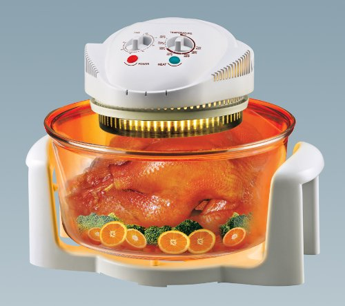 Charles Jacobs 12 LTR Halogen Oven Cooker + FREE COOK BOOK, accessories includes extender ring, lid holder, low rack, high rack, forks, frying pan, tong, steamer - worth £60.