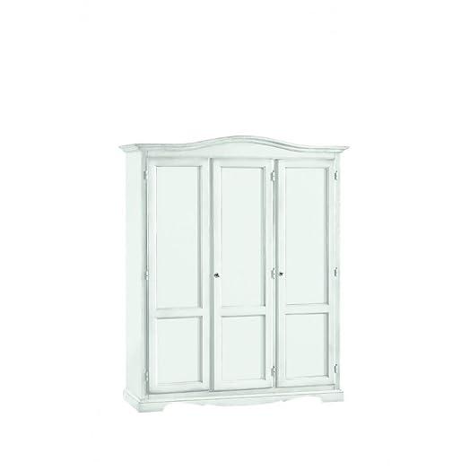 CLASSICO armadio Shabby Chic bianco 3 ante battenti guardaroba economico 158x56x197 1313