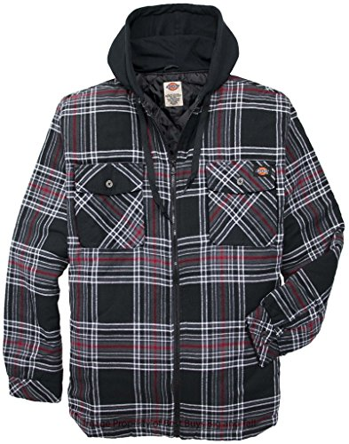 Dickies Hooded Zip Flannel Shirt Jacket Quilted Lining 4XL BLACK/Red Plaids #634A (Red And Black Hooded Flannel compare prices)