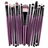 Maquillaje juego de brochas - SODIAL(R)15 pcs/set Sombra de ojos Fundacion Ceja pincel de labios, Maquillaje juego de brochas (morado y negro)