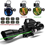 UUQ C4-12X50 Rifle Scope Dual Illuminated Reticle W/ Green Laser and 4 Tactical Holographic Dot Sight