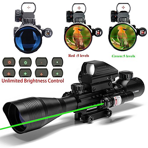 UUQ-C4-12X50-AR15-Rifle-Scope-Dual-Illuminated-Reticle-W-GREEN-Laser-and-4-Tactical-Holographic-Dot-Sight-12-Month-Warranty