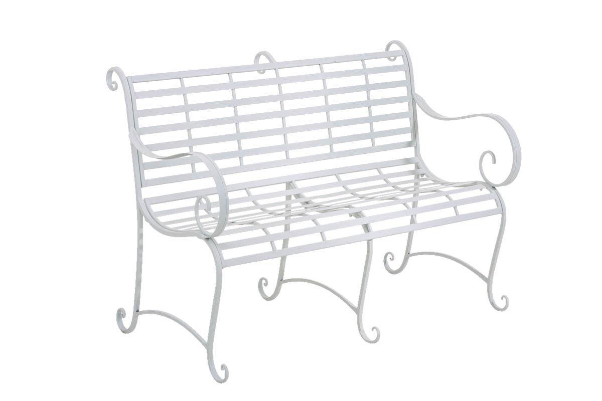 CLP Gartenbank ROY im Landhausstil, aus lackiertem Eisen, 129 x 69 cm - aus bis zu 6 Farben wählen weiß