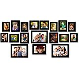 One For All Set Of 18 Photo Frames | Black Matt Finish | Korean Moulding | High Class Clear Glass | MDF Back |...