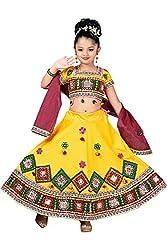 Aarika Girls' Self Design Navratra/ Garbha Special Lehenga Choli and Dupatta Set