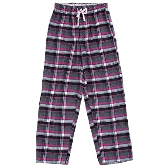 Pink and Gray Flannel Pajama Pants for Women S