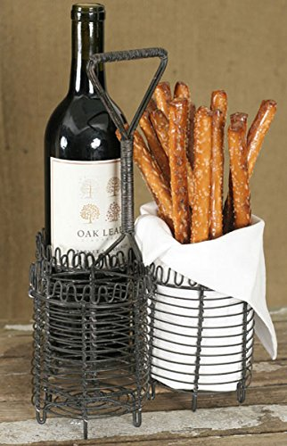 Three bottle wire metal wine carrier tote home garden kitchen dining food beverage carriers bags - Wire wine bottle carrier ...