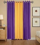 Indian Online Mall Plain Door Curtain (Pack of 2), Purple and Yellow