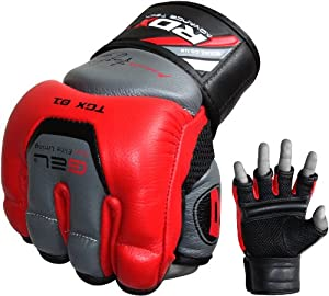 Authentic RDX Leather Gel Tech MMA UFC Grappling Gloves Fight Boxing Punch Bag P
